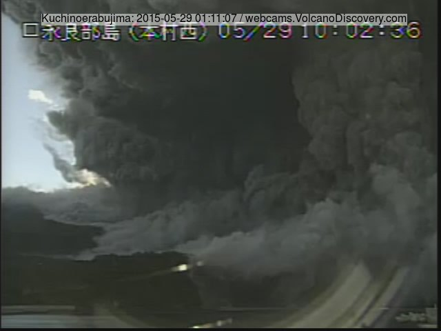 Ash plume and pyroclastic flow from the eruption of Kuchinoerabujima this morning