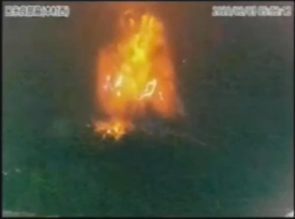 Eruption of Kuchinoerabujima volcano this morning (screenshot of JMA webcamera recording)