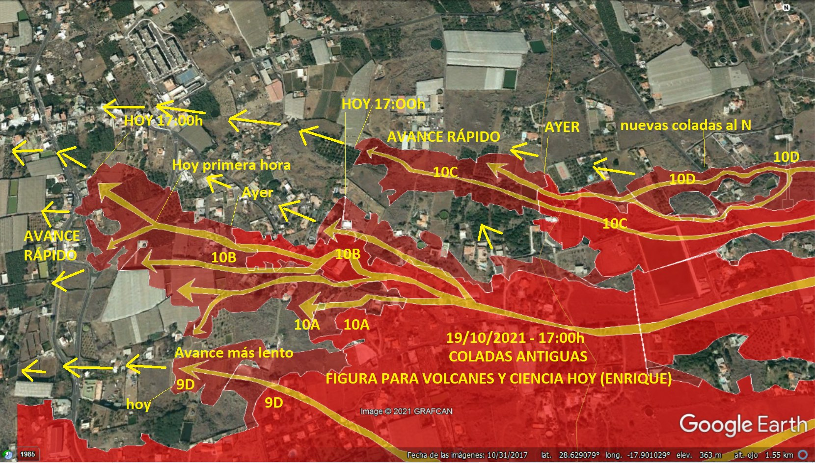The area east of Montagna La Laguna where most lava flow advance has occurred (image: VolcanesyCienciaHoy / facebook)