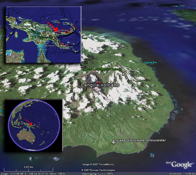 Satellite image of Langila volcano (image by Google Earth View)