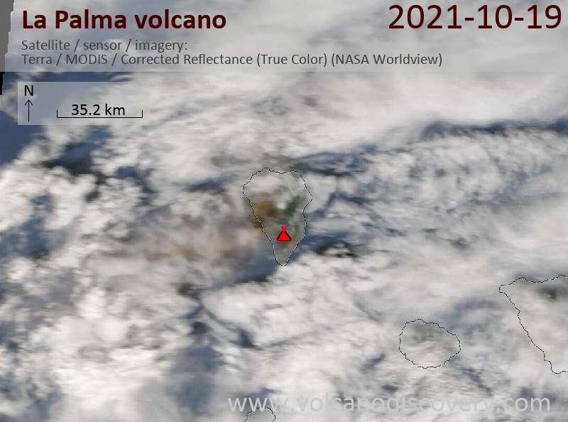 Satellite image of La Palma volcano on 19 Oct 2021