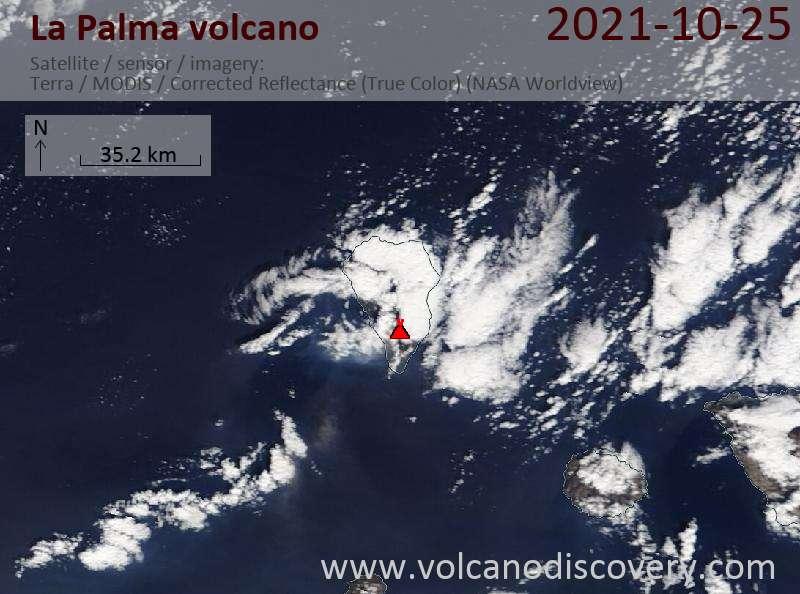 Satellite image of La Palma volcano on 26 Oct 2021