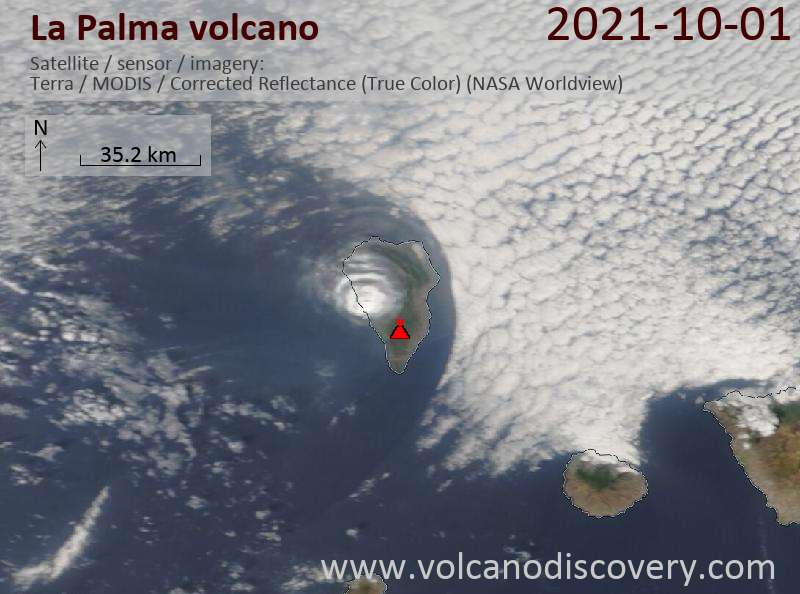 Satellite view of La Palma yesterday showing the circular eruption plume