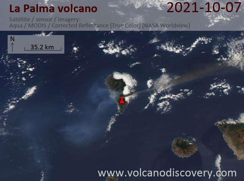 Satellite image of La Palma volcano on  8 Oct 2021