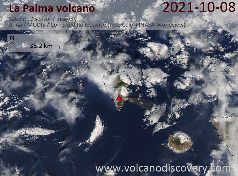 Satellite image of La Palma volcano on  9 Oct 2021