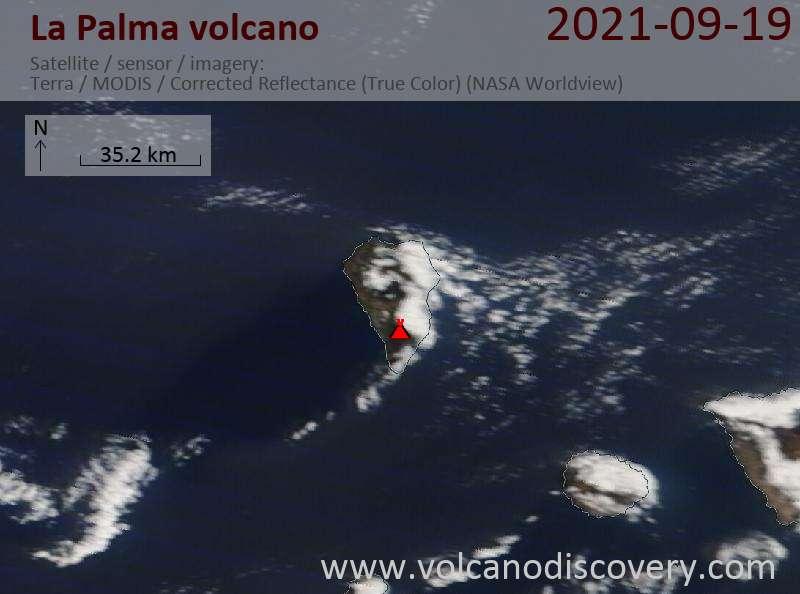 Satellite image of La Palma volcano on 20 Sep 2021