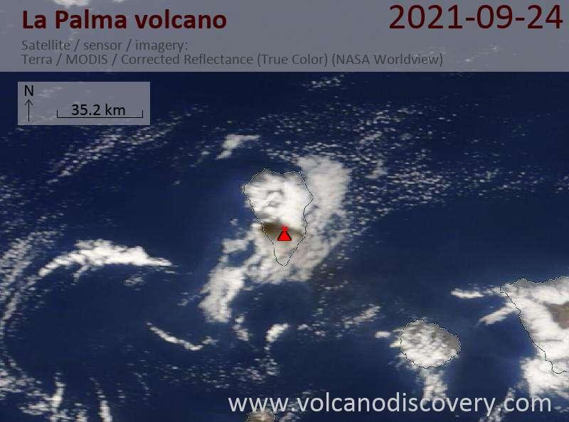 Satellite image of La Palma volcano on 25 Sep 2021