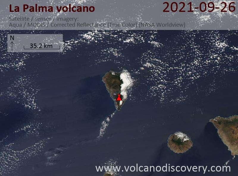 Satellite image of La Palma volcano on 27 Sep 2021