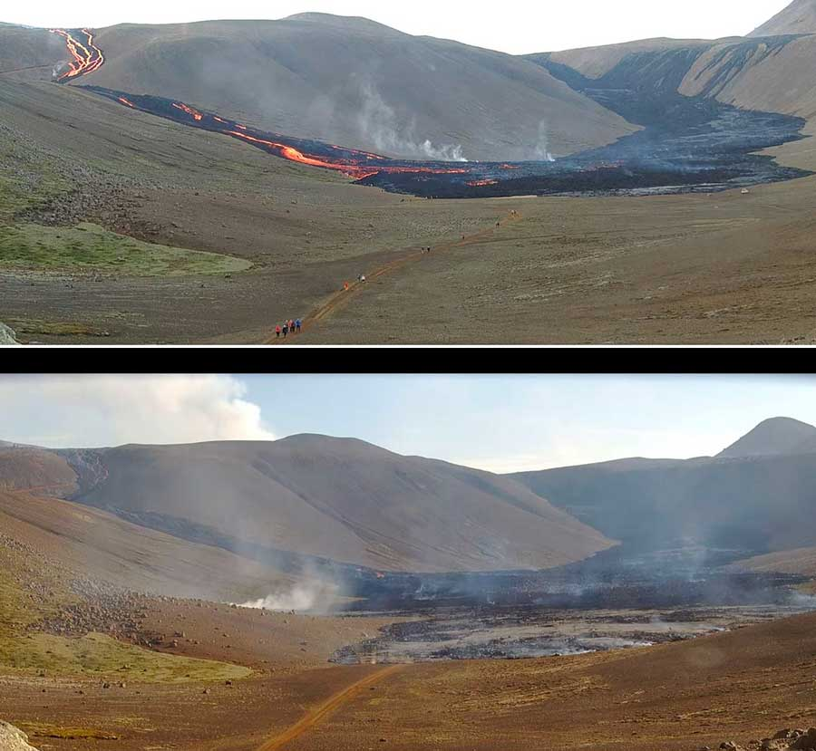 Within less than a day, much of Nátthagi Valley was covered by new lava (image: mbl webcam)