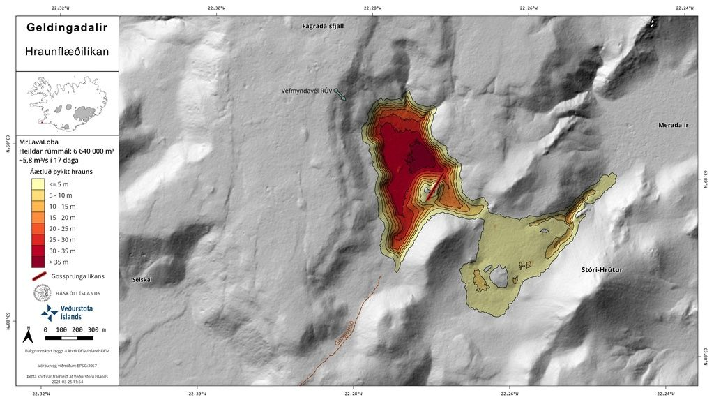 Model of the lava fill after 17 days of eruption (image: Ragnar Heiðar Þrastarson / twitter)
