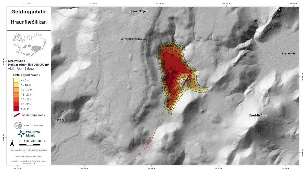 Model of the lava fill after 12 days of eruption (image: Ragnar Heiðar Þrastarson / twitter)