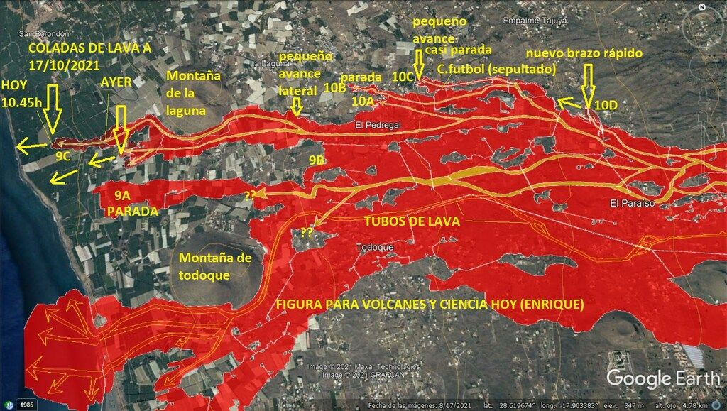 Latest map of lava flows and the tube system at La Palma as of Sun 17, 2021, afternoon (image: VolcanesyCienciaHoy / facebook)