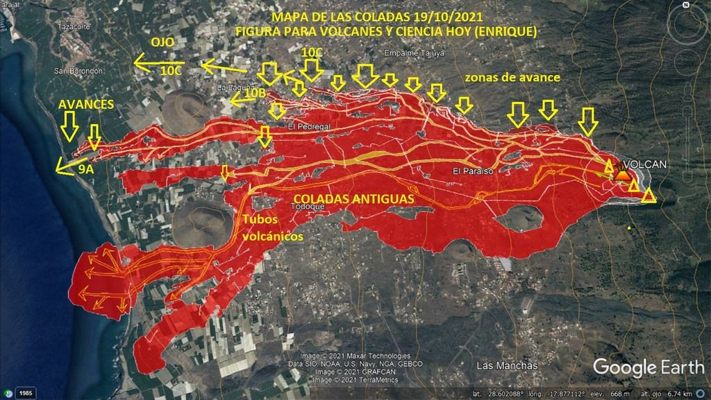 Latest map of lava flows on La Palma as of 19 Oct afternoon (image: VolcanesyCienciaHoy / facebook)