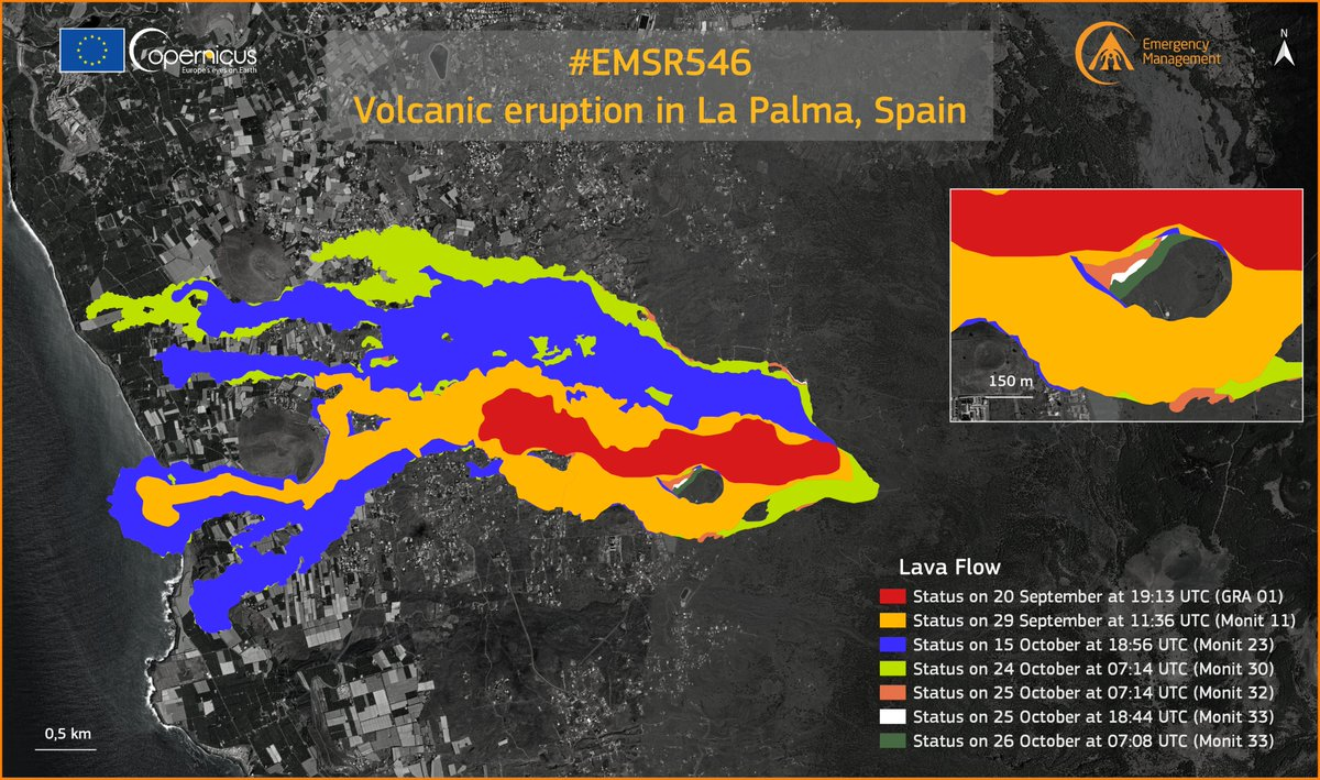 Latest map of the area covered by lava flows as of 26 Oct morning (image: Copernicus EMS)