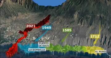 The historic lava flow deltas (image: Gobierno Canarias)