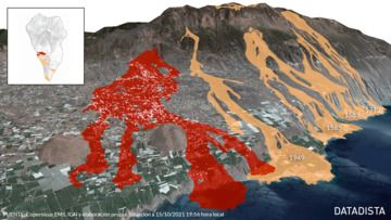 Lava flows from the past and present historic eruptions at Cumbre Vieja in comparison (image: Datadista @datadista / twitter)
