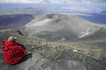 The new ash cone occupying the N crater in a quiet phase