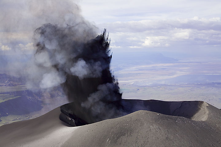Typical ash eruption from the new ash cone in the N crater