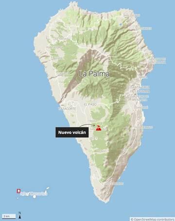 Placering af eruption site (billede: El Periódico)