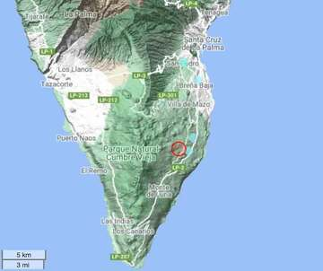 Location of today's magnitude 4.3 quake under Cumbre Vieja's east flank
