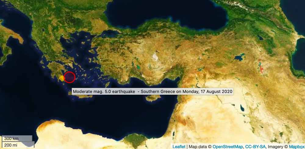 A moderate mag 5 quake occurred in southern Greece on 17 Aug 2020.
