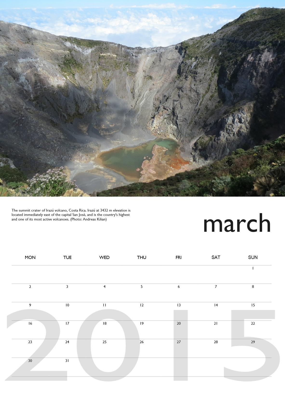Volcano calendar 2015 - March preview