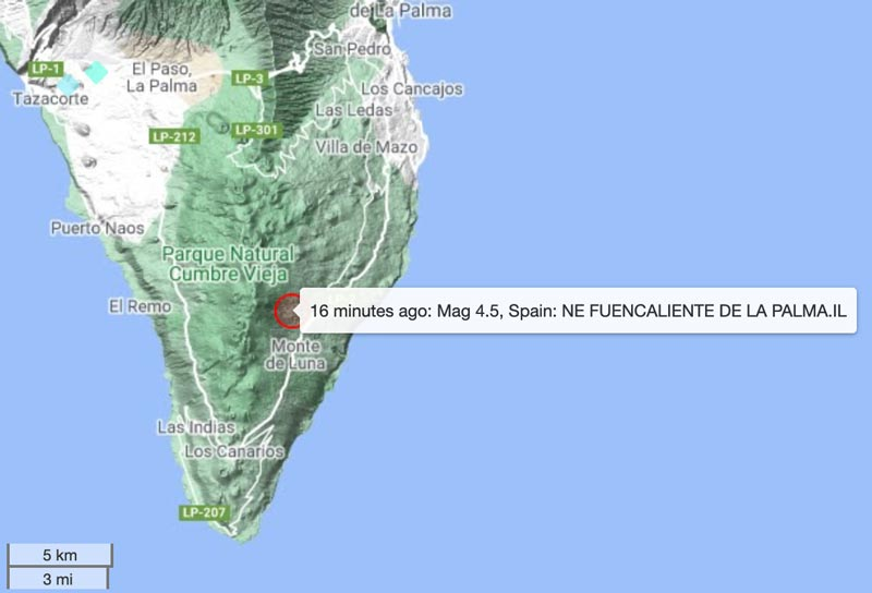 Location of this afternoon's 4.4 quake on La Palma