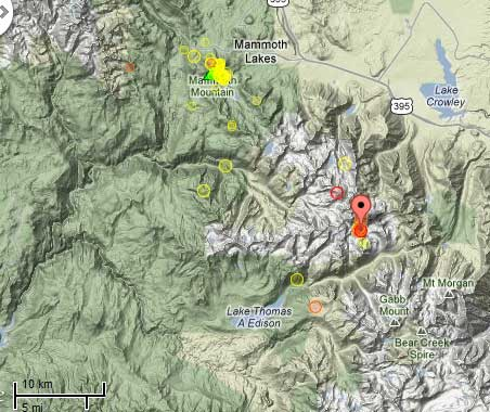 Map of recent quakes near Mammoth Mountain