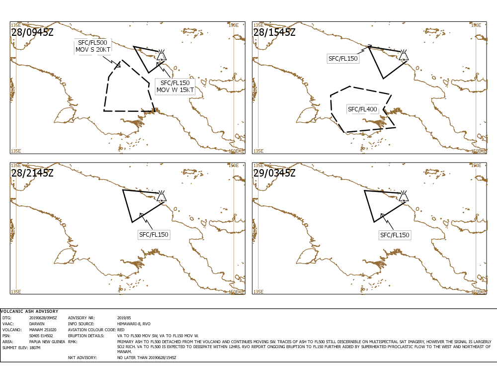 Ash cloud forecast for Manam volcano today (image: VAAC Darwin)
