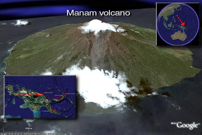 Satellite image of Manam volcano (c) Google