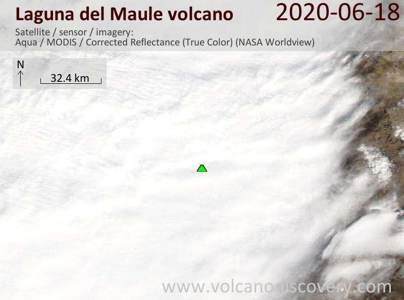Imagen satelital de Laguna del Maul el 18 de junio de 2020