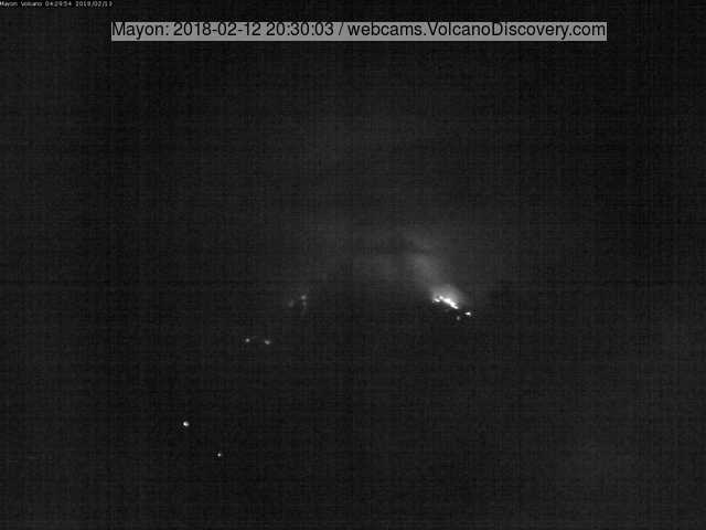 Webcam view of Mayon's lava flows last night (mostly cloudy views prevented cleaner images)