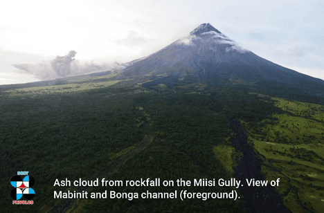 Mayon volcano with an ash cloud caused by a collapse on the lava flow front on 18(?) Jan 2018 (image: PHILVOLCS)