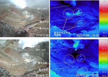 Thermal images of the Ponmachineshiri crater (JMA)