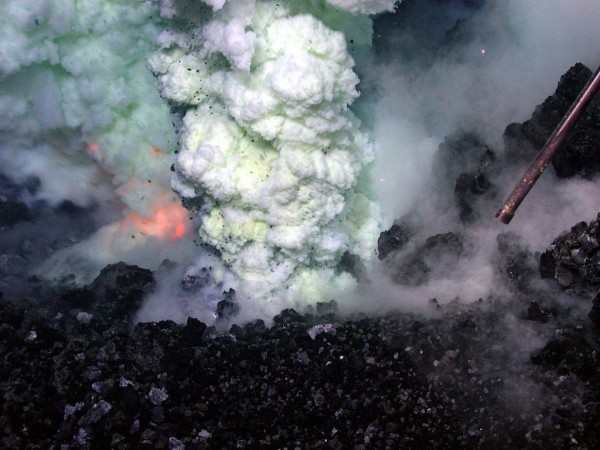 Submarine volcanic eruption and associated megaplume (Image: NOAA/National Science Foundation).