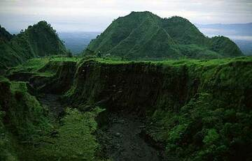 Canyons and standing blocks, remnants of the old S flank of Merapi, reshaped by landslides