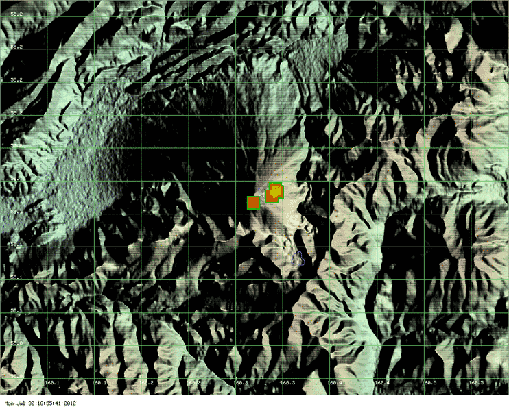 MODIS thermal image of Kizimen showing the heat sources from the lava dome and the lava flow on the east flank (Univ. of Hawaii)