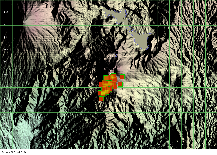 MODIS hot spot data (past 2 days) for Pacaya volcano (ModVolc, Univ. Hawaii)