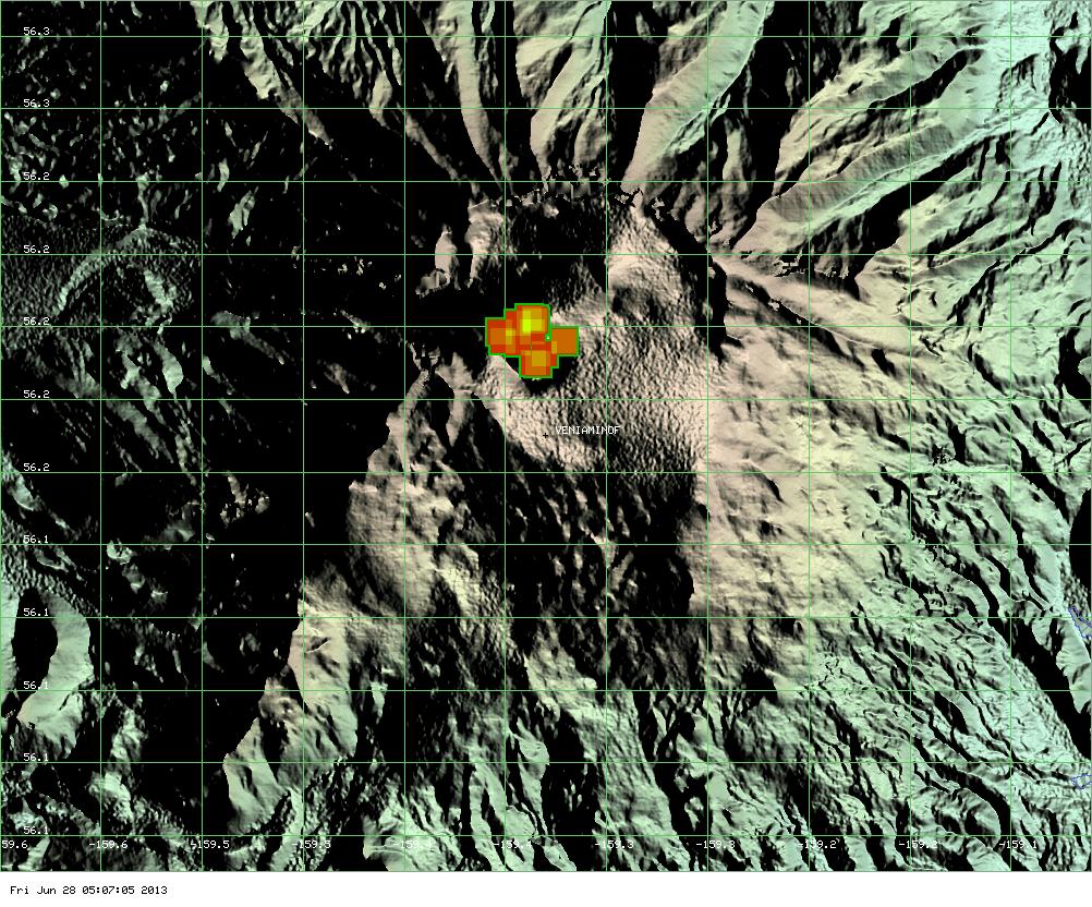 MODIS hot spot data for Veniaminof volcano showing the area of fresh lava flows (ModVolc, Univ. Hawaii)