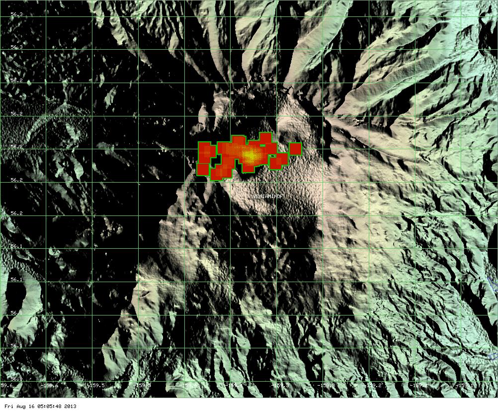 MODIS hot spot at Veniaminof volcano (past 7 days, Univ. Hawai'i)
