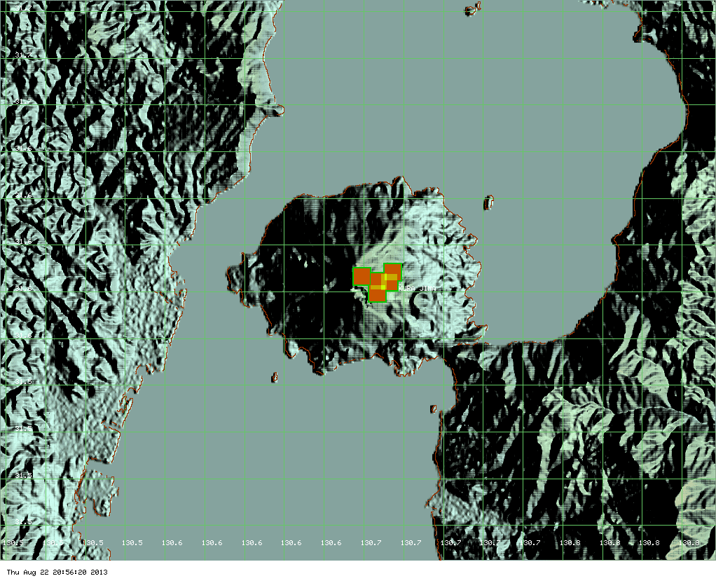 MODIS hot spot data (past 7 days) for Sakurajima volcano (ModVolc, Univ. Hawaii)