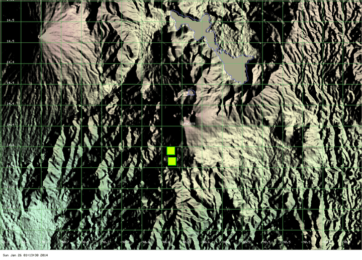 MODIS hot spot data (past 2 days) for Pacaya volcano - a significant reduction of the hot areas is visible (ModVolc, Univ. Hawaii)