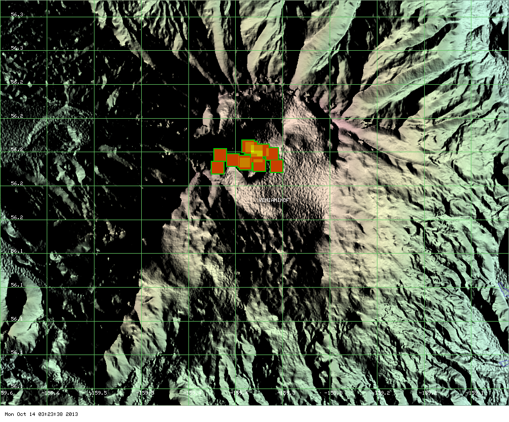 MODIS hot spot data for Veniaminof volcano showing the area of the latest lava flows (ModVolc, Univ. Hawaii)