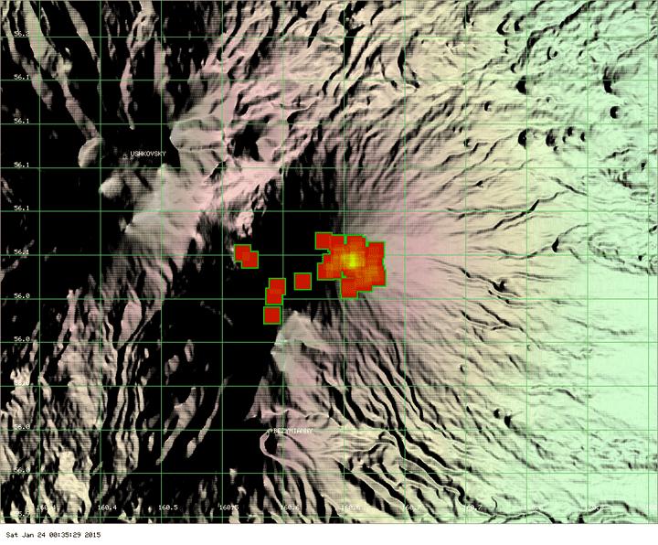 MODIS thermal image of Klyuchevskoy over the past 7 days (MODVOLC / Univ. Hawai'i)
