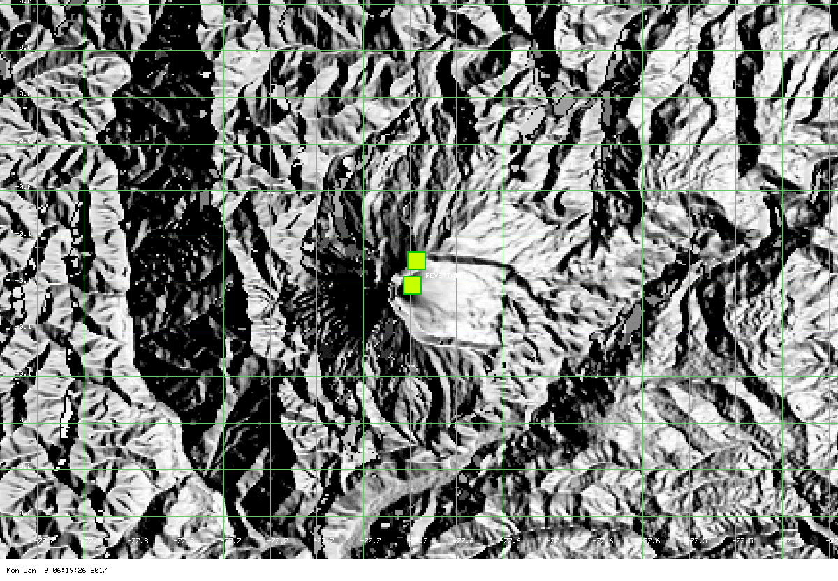 Mild thermal signal at Reventador volcano (MODIS data, Univ. Hawai'i)