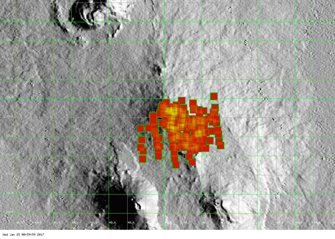 Hot spots on Erta Ale - the reported flank eruption is not (yet) visible (MODIS data, Univ. Hawai'i)