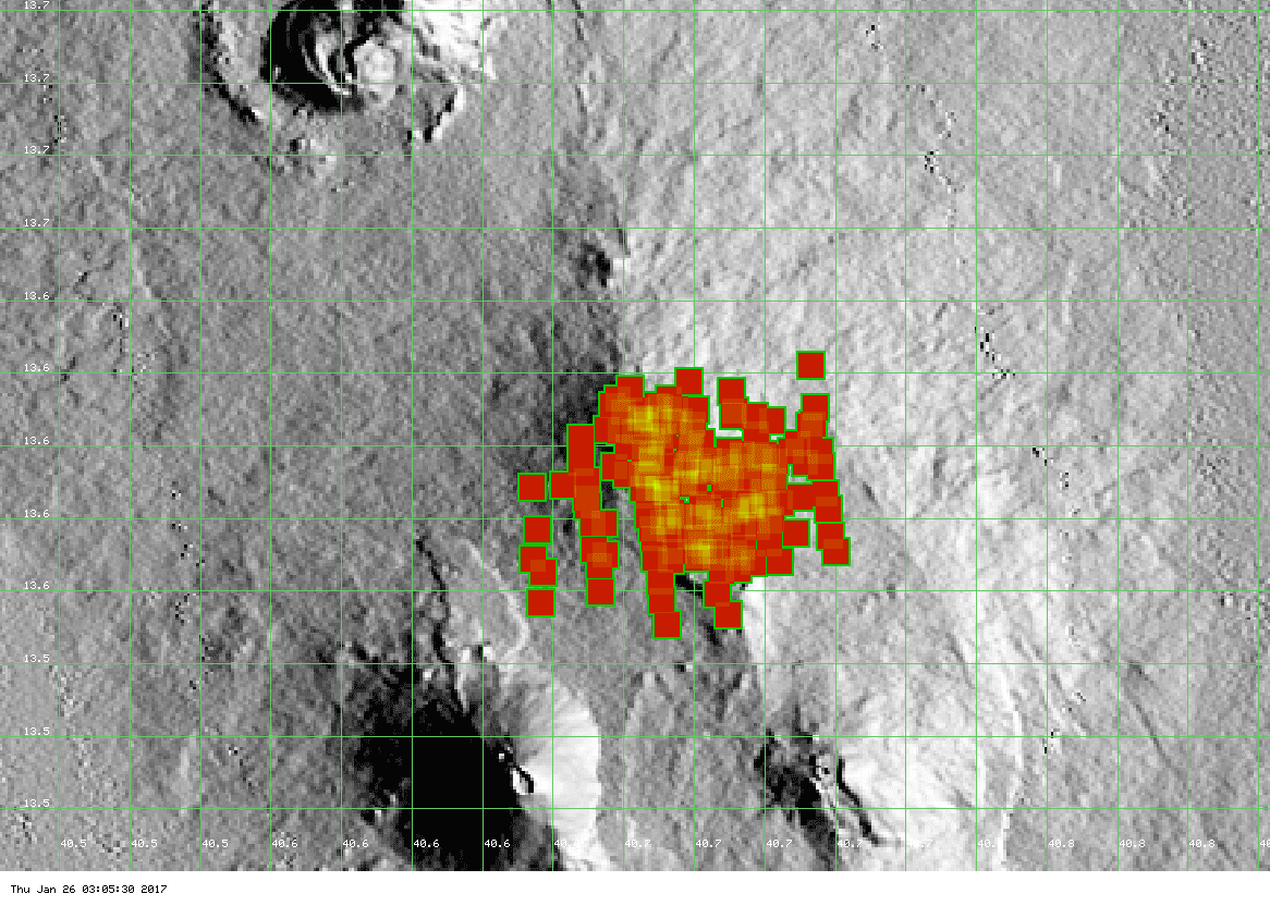 Hot spots on Erta Ale's caldera (MODIS data, Univ. Hawai'i)