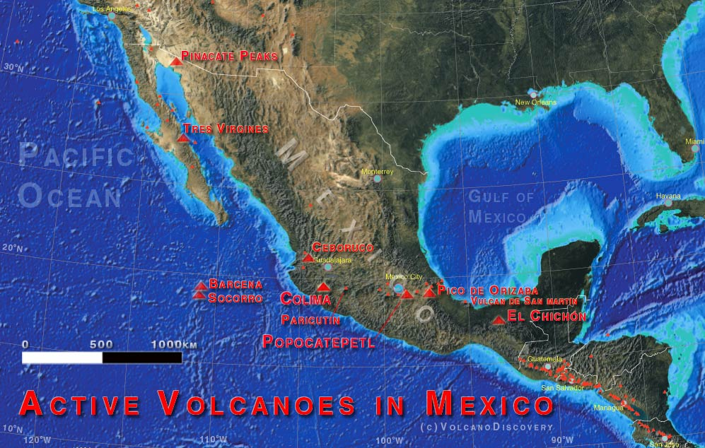 Carte représentant les volcans actifs du Mexique (triangles rouge). (Base de carte créée avec UNAVCO/Voyager map tool feat. Face of the EarthTM)
