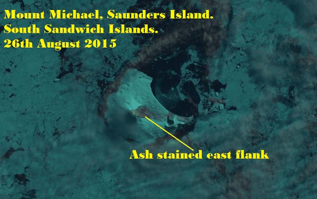 NASA satellite image of Michael volcano (image: NASA via South Sandwich Islands Volcano Monitoring Blog)
