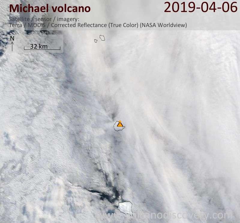 Satellitenbild des Michael Vulkans am  6 Apr 2019